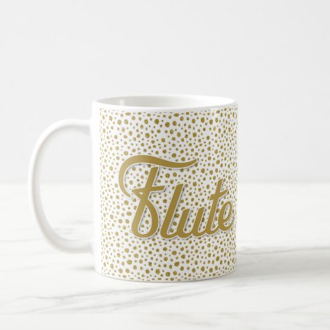 Flute Gold Dots - Gold White Music Coffee Mug