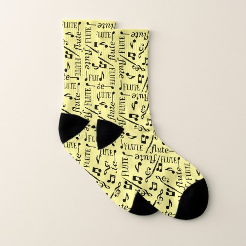 Flute Instrument yellow Socks