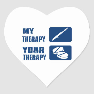 flute is my therapy heart stickers