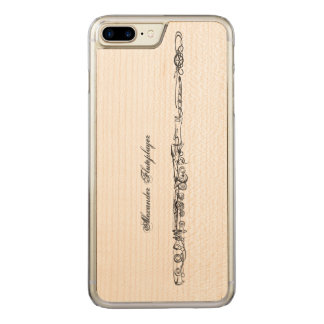 Flute Line Drawing, Name Carved iPhone 7 Plus Case