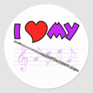 Flute Love Classic Round Sticker