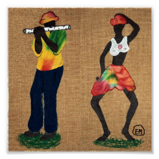 Flute Man and Dancer Posters
