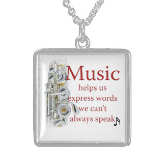 Flute Music Helps Express Words Jewelry Necklace