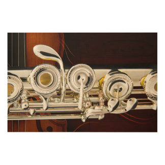 Flute Music Instrument Keys Photograph in color Wood Wall Art