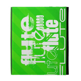 Flute; Neon Green Stripes iPad Cases