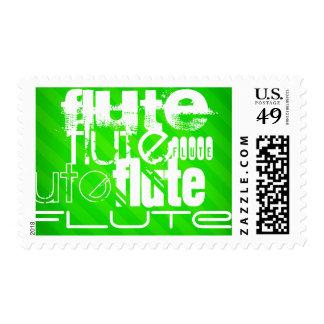 Flute; Neon Green Stripes Postage Stamp