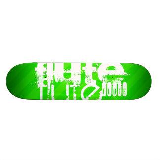 Flute; Neon Green Stripes Skateboard