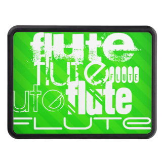 Flute; Neon Green Stripes Tow Hitch Cover