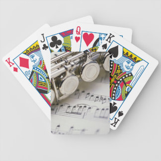 Flute on Sheet Music Bicycle Playing Cards