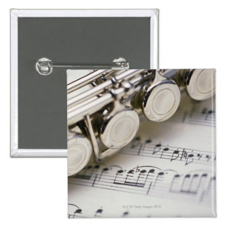 Flute on Sheet Music 2 Inch Square Button