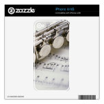Flute on Sheet Music Decals For The iPhone 4