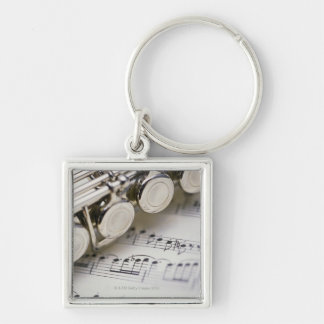 Flute on Sheet Music Keychains
