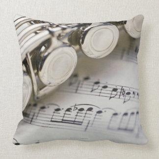 Flute on Sheet Music Pillows