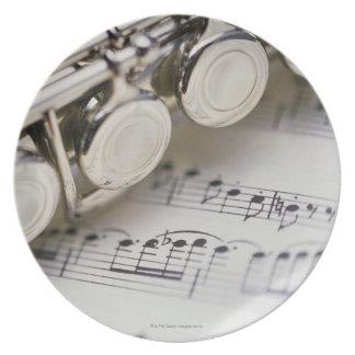 Flute on Sheet Music Plates