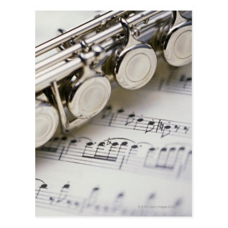 Flute on Sheet Music Postcard