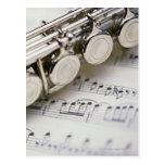 Flute on Sheet Music Postcards