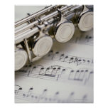 Flute on Sheet Music Posters