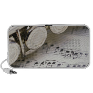 Flute on Sheet Music Notebook Speakers