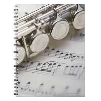 Flute on Sheet Music Spiral Notebook