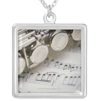 Flute on Sheet Music Square Pendant Necklace