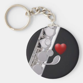 Flute or Flutist Key Ring or Keyring Basic Round Button Keychain