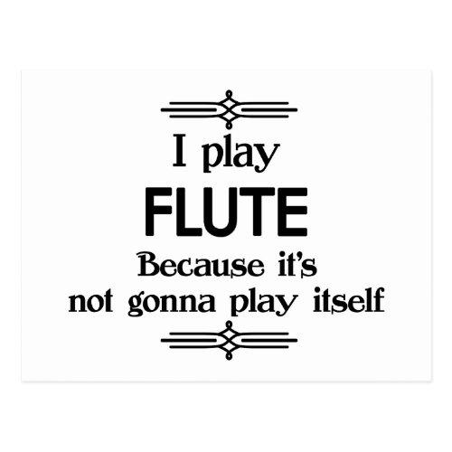 Flute _ Play Itself Funny Deco Music Postcard