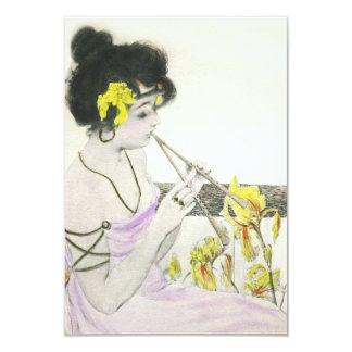 Flute Player Art Nouveau Invitations