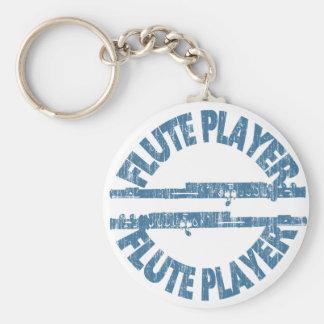 Flute Player Basic Round Button Keychain