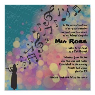 "Flute Player Bat Bar Mitzvah Invitation 5.25"" Square Invitation Card"