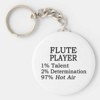 Flute Player Hot Air Basic Round Button Keychain