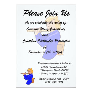 flute player lady blue shirt abstract.png 5x7 paper invitation card