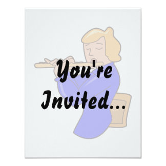 """flute player lady blue shirt abstract.png 4.25"""" x 5.5"""" invitation card"""