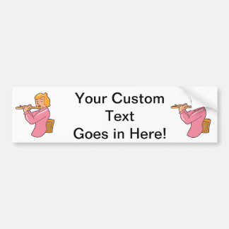 flute player lady pink shirt abstract.png bumper sticker