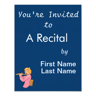 """flute player lady pink shirt abstract.png 4.25"""" x 5.5"""" invitation card"""