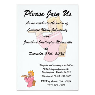 """flute player lady pink shirt abstract.png 5"""" x 7"""" invitation card"""