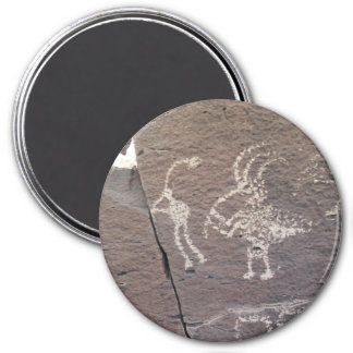 Flute Players Petroglyph Santa Fe New Mexico 3 Inch Round Magnet