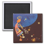 Flute-Playing Kokopelli 2 Inch Square Magnet