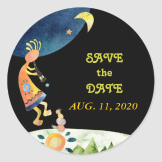 Flute Playing Kokopelli Save the Date Stickers
