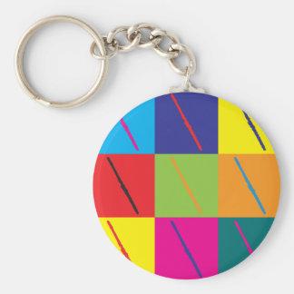 Flute Pop Art Basic Round Button Keychain