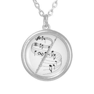 Flute Round Pendant Necklace