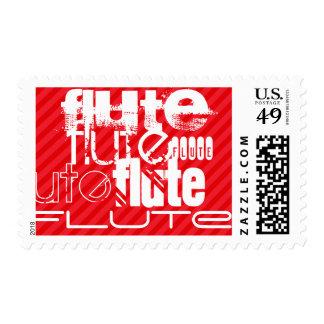 Flute; Scarlet Red Stripes Postage Stamp