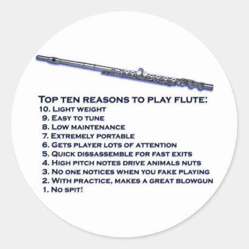 Flute Top 10 Classic Round Sticker