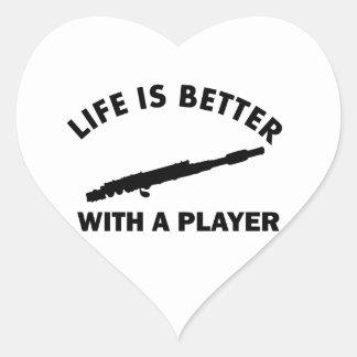 Flute Vector Designs Heart Sticker