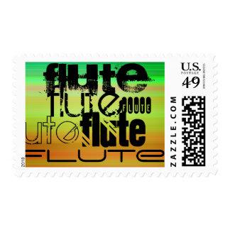 Flute; Vibrant Green, Orange, & Yellow Postage Stamp