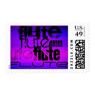 Flute; Vibrant Violet Blue and Magenta Postage Stamp