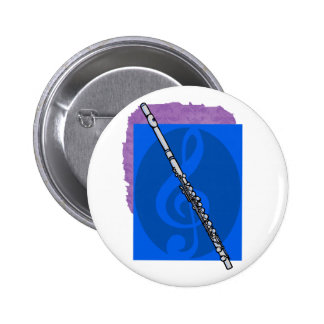 Flute with Blue Treble Clef Background Button