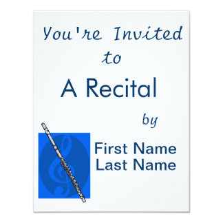Flute with Blue Treble Clef Background Card