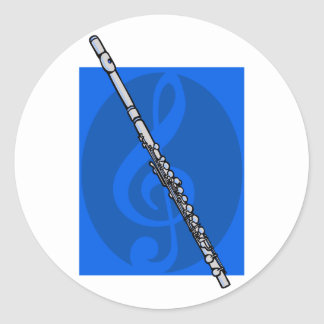 Flute with Blue Treble Clef Background Classic Round Sticker