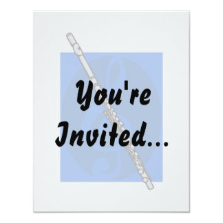 """Flute with Blue Treble Clef Background 4.25"""" X 5.5"""" Invitation Card"""