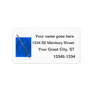 Flute with Blue Treble Clef Background Personalized Address Label